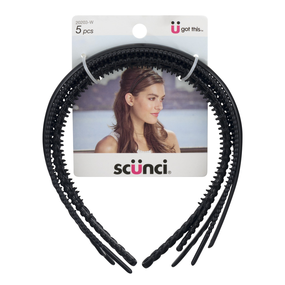 (2 Pack) scunci Mixed Thin Hairbands, 5 count
