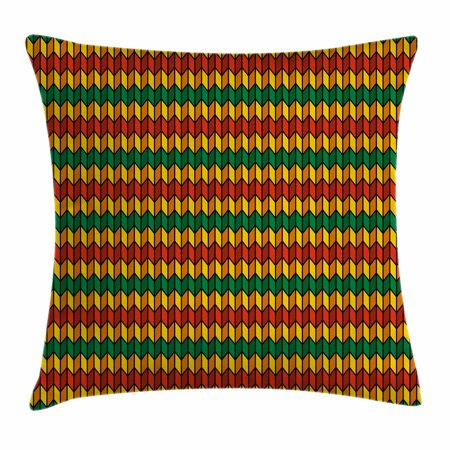 Triangle Flag Case (Rasta Throw Pillow Cushion Cover, Geometrical Zig Zag Triangle Inspired Shapes in Flag Colors Art Print, Decorative Square Accent Pillow Case, 18 X 18 Inches, Marigold Orange and Green, by)