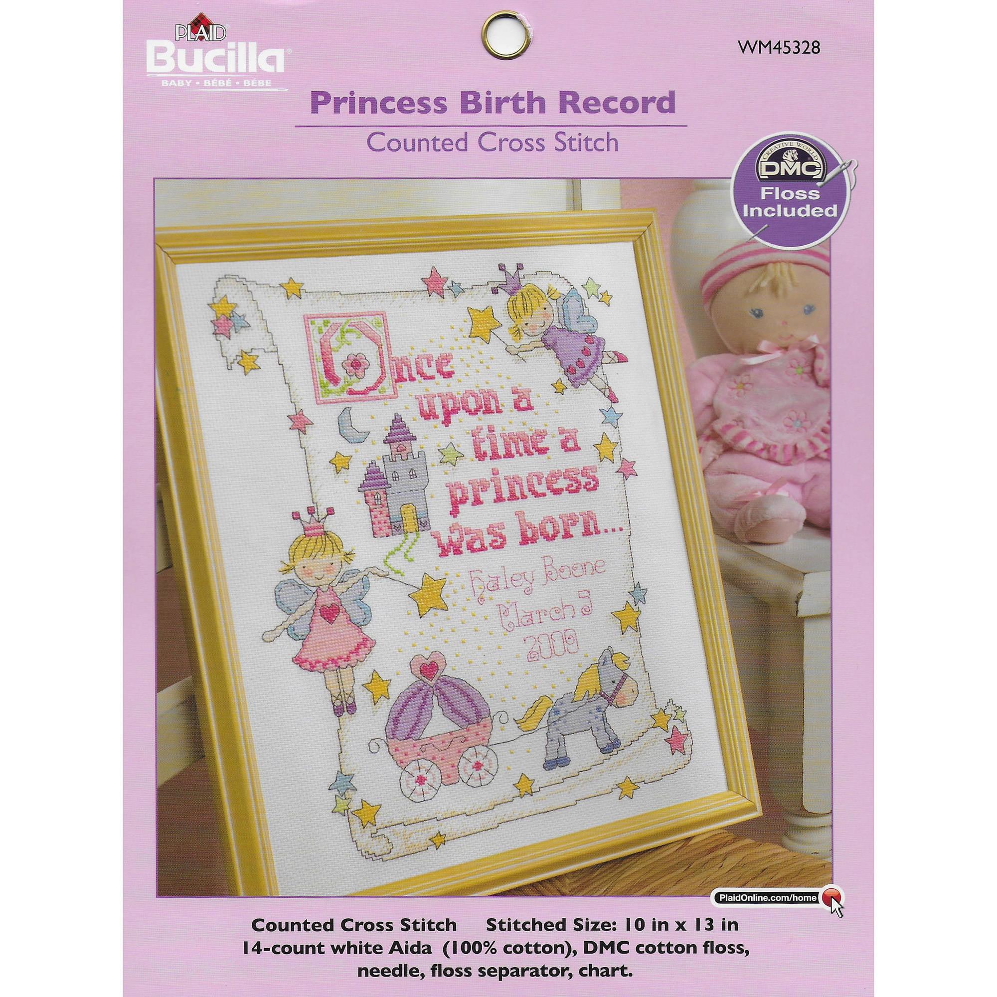 Bucilla Counted Cross Stitch Kit 10x13 Princess Birth Record 14