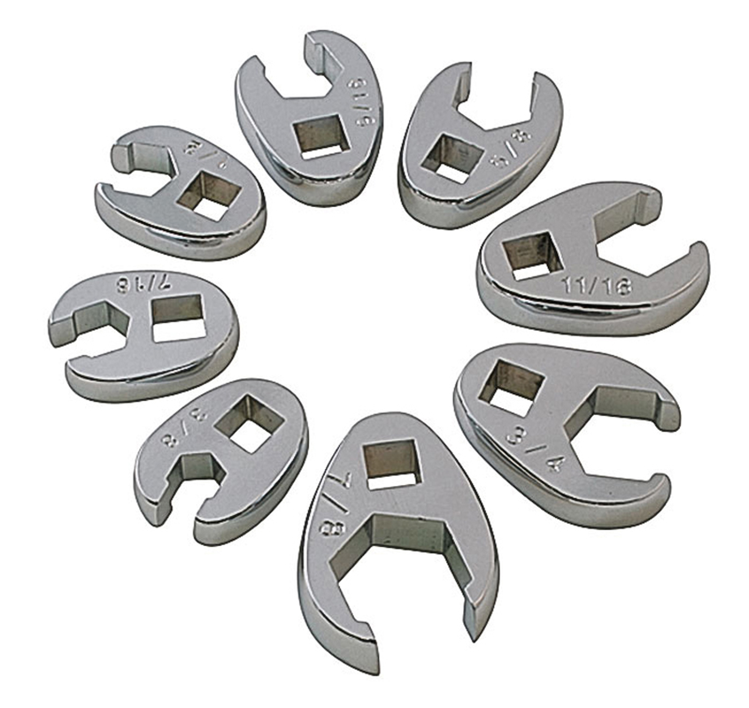 "8 Piece SAE Flare Crowfoot Wrench Set 3/8""-7/8"""