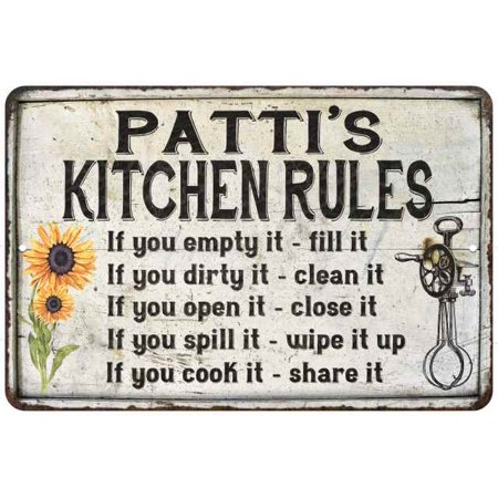 Patti S Kitchen Rules Chic Sign Vintage Decor 8 X 12 High Gloss Metal 208120032468
