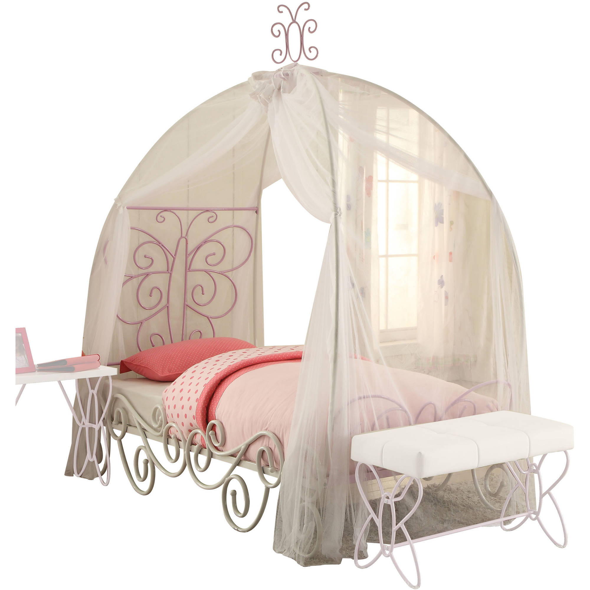 Acme Priya II Twin Canopy Bed, White and Light Purple by Acme