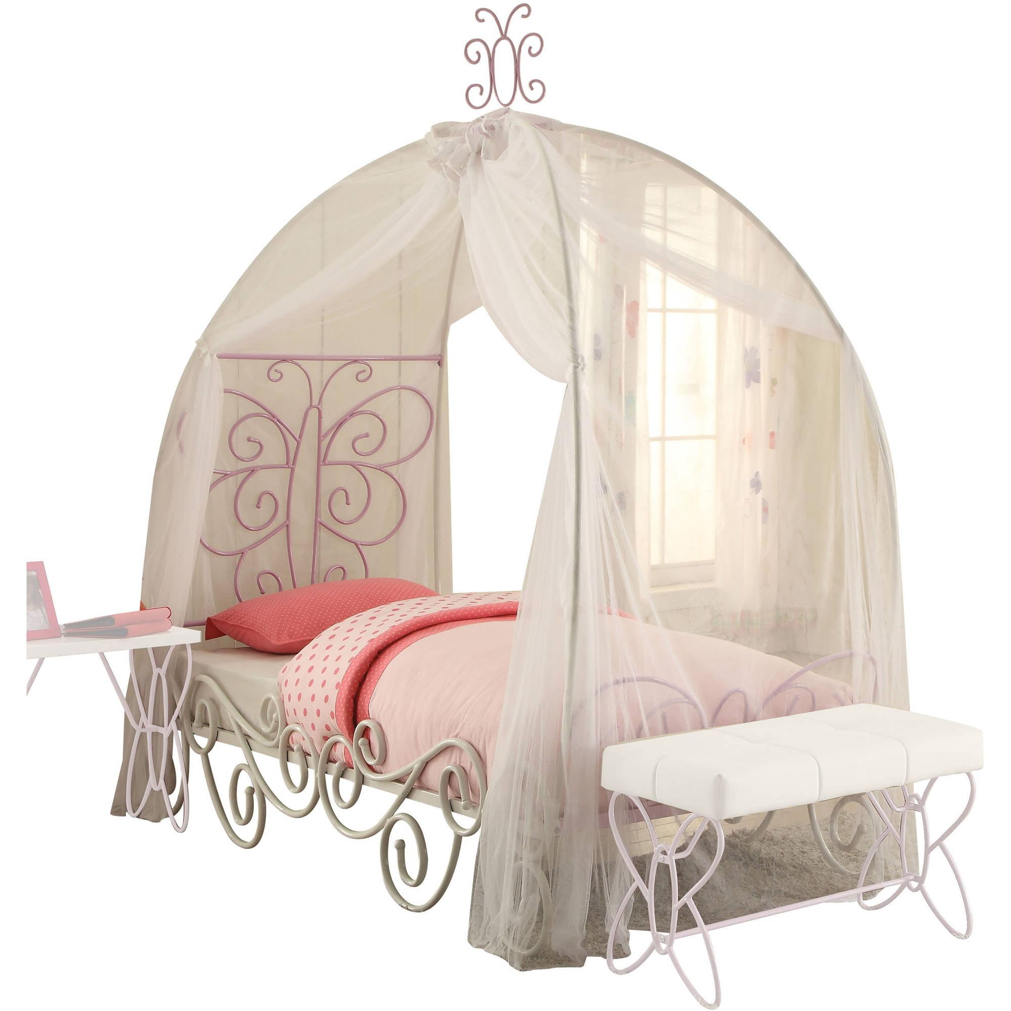 Acme Priya II Twin Canopy Bed, White and Light Purple by Acme Furniture