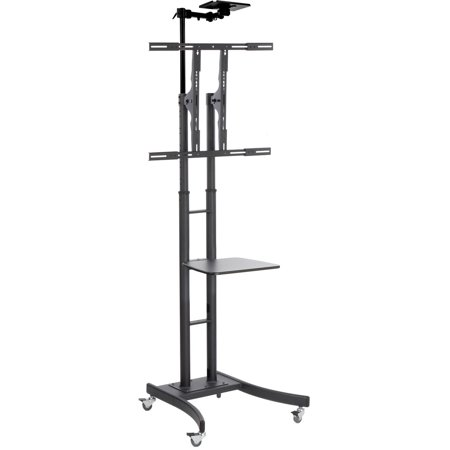 displays2go heavy duty tv stand mounts 32 to 84 hdtv portable with wheels shelf and camera. Black Bedroom Furniture Sets. Home Design Ideas