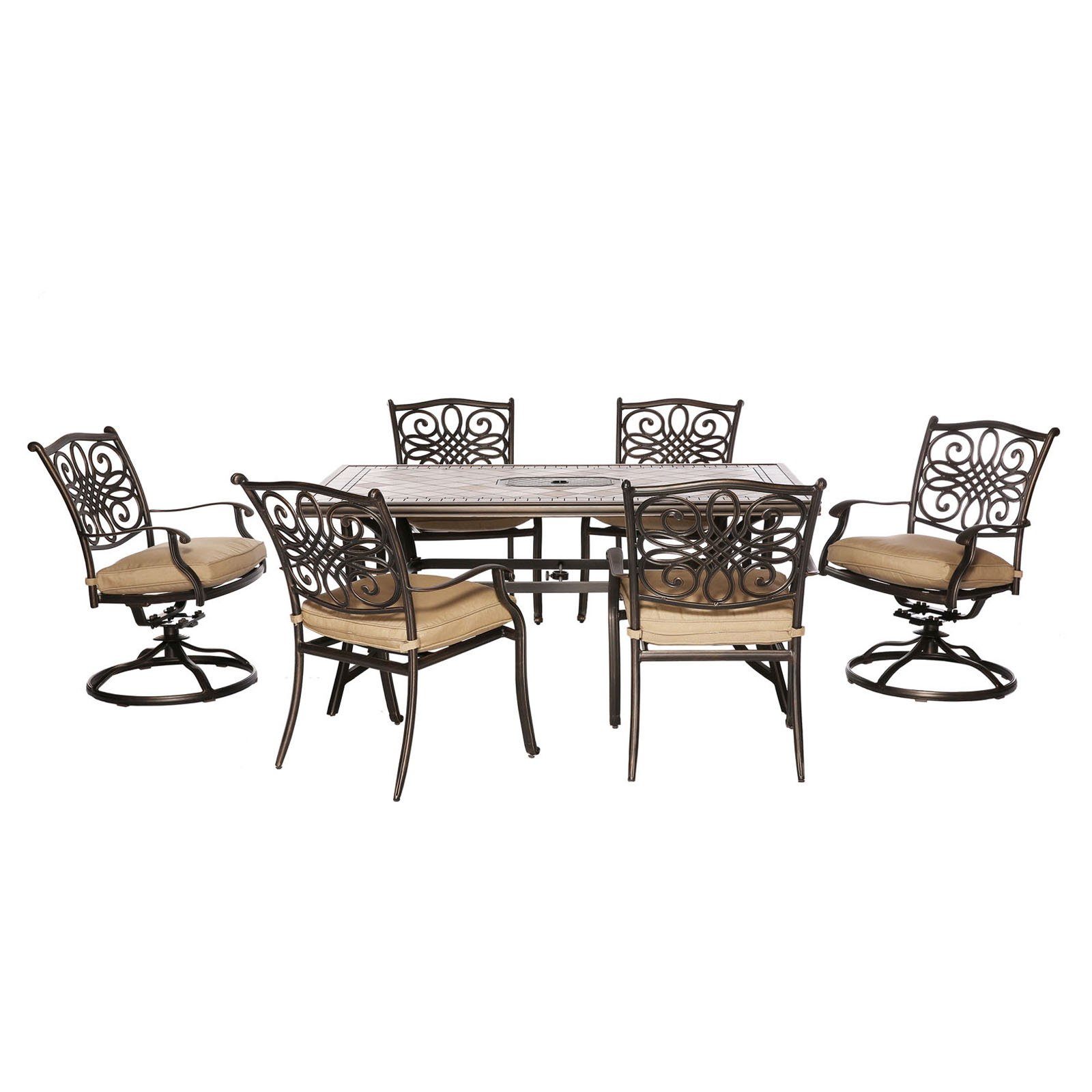 Hanover MONDN7PCSW-2 Monaco 7-Piece Aluminum Framed Outdoor Dining Set with Umbr