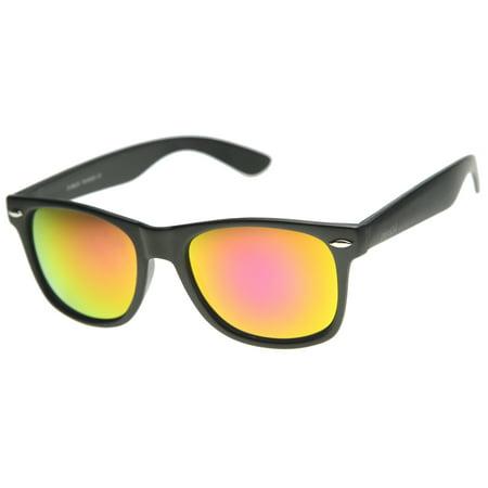 (zeroUV - Matte Finish Color Mirror Lens Large Square Horn Rimmed Sunglasses - 55mm)