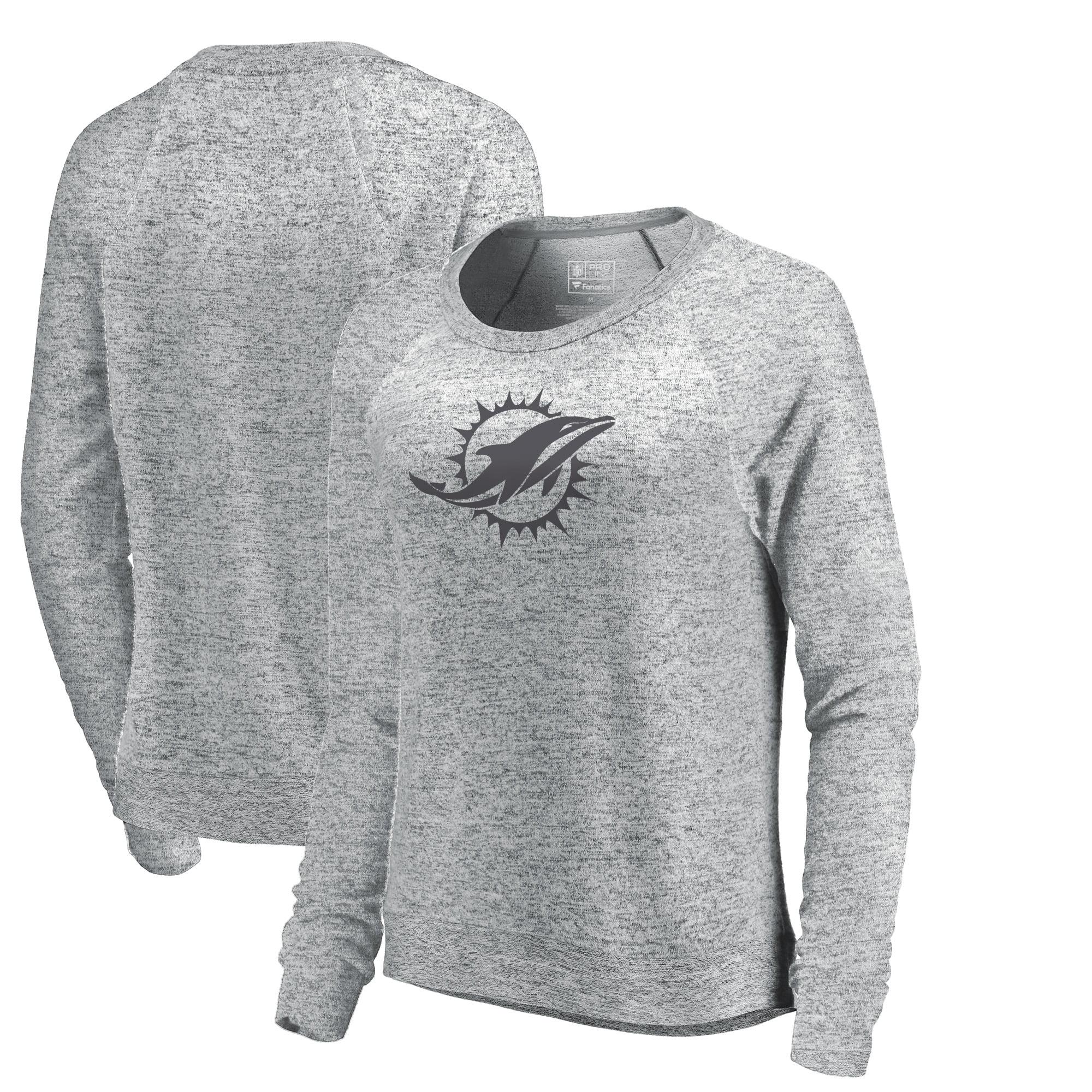 Miami Dolphins NFL Pro Line by Fanatics Branded Women's Cozy Collection Plush Crew Sweatshirt - Ash