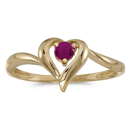 10k Yellow Gold Round Ruby Heart Ring