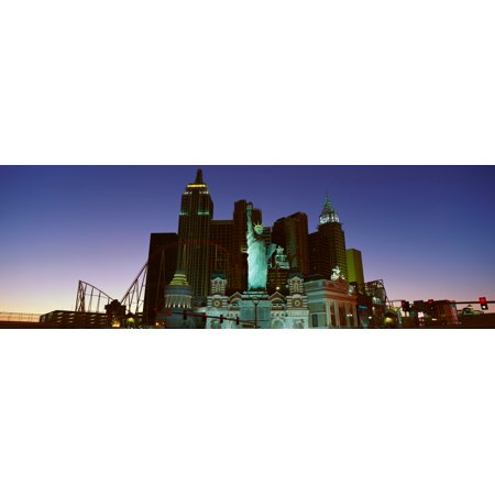 Panoramic View Of New York New York Hotel With Statue Of Liberty At Sunrise Las Vegas Nv Poster Print
