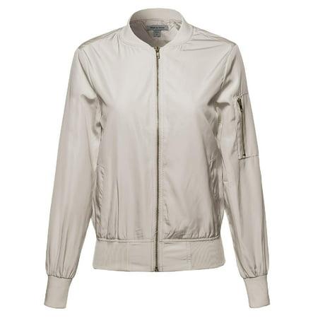 e787c7daea650 FashionOutfit - FashionOutfit Women s Classic Style Zip Up Long Bomber  Jacket - Walmart.com