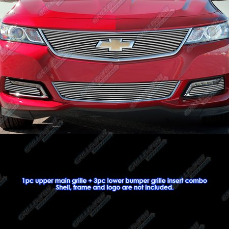 Fog Lamps Billet Grille - Compatible with 2014-2015 Chevy Impala W Logo Show & Fog Light Cover Billet Grille Combo C61246A