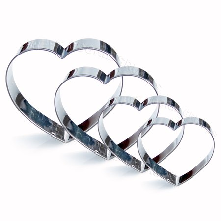 Heart Cookie Cutter Set, 4 Piece, Stainless Steel](Walmart Cookie Cutters)