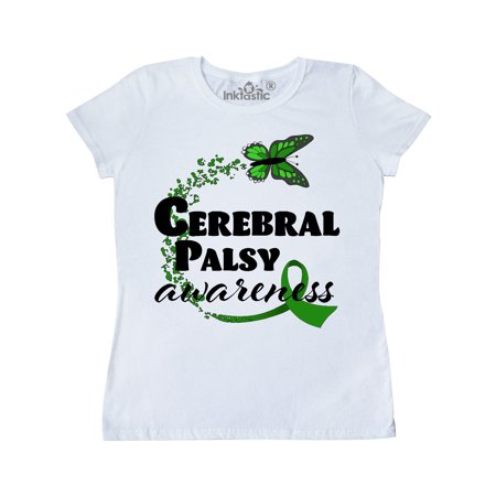 Cerebral Palsy Awareness with Green Butterfly and Ribbon Women's T-Shirt