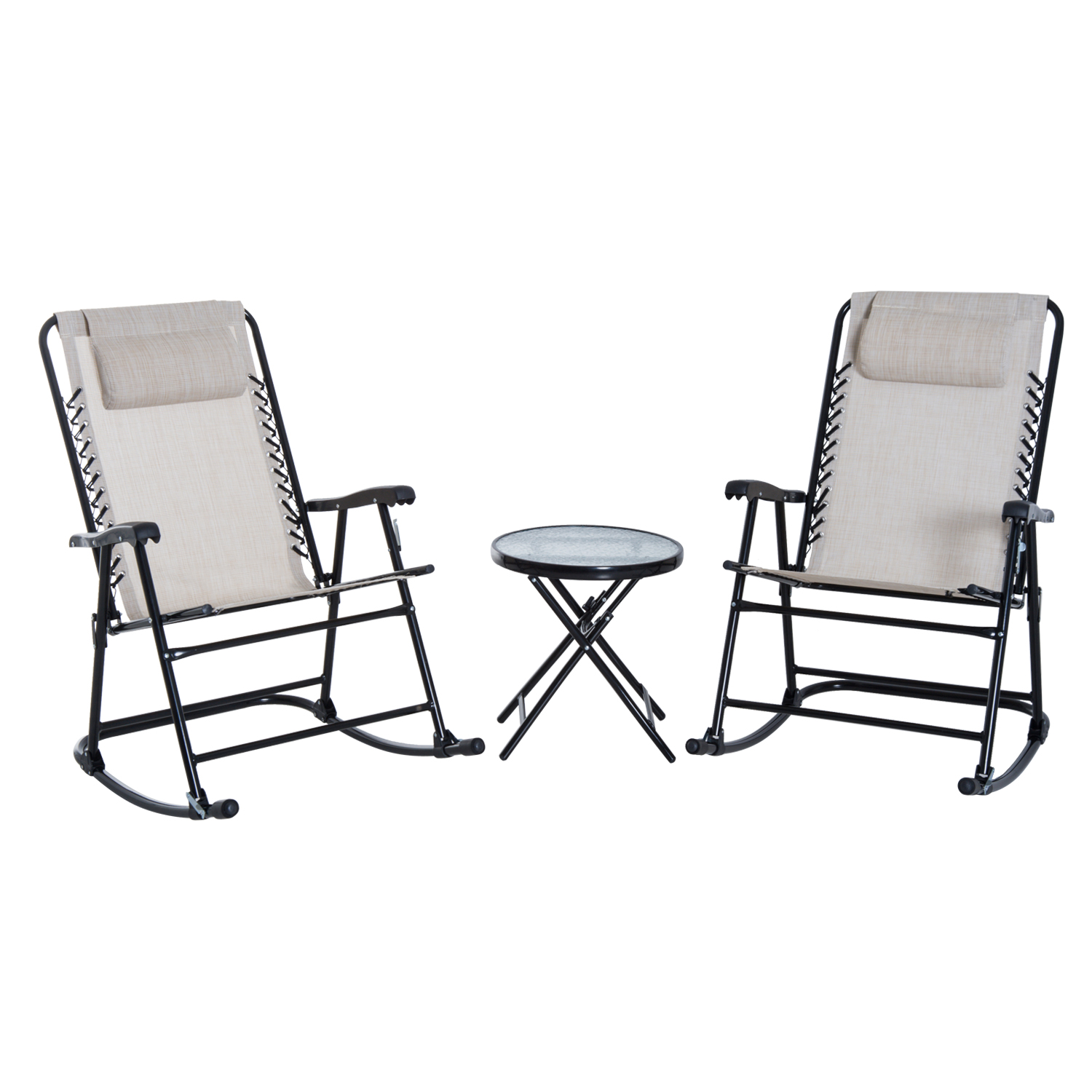Outsunny 3 Piece Outdoor Folding Rocking Chair Set With