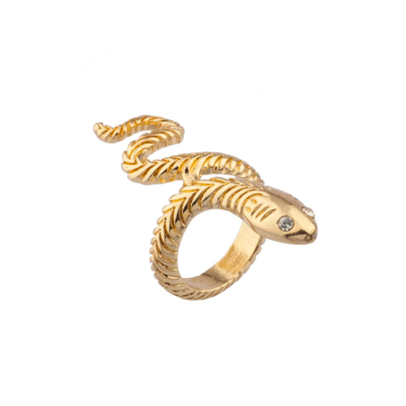 Lux Accessories Wrap Around Serpent Snake Pave Eyes Sized Ring Pave Snake Ring