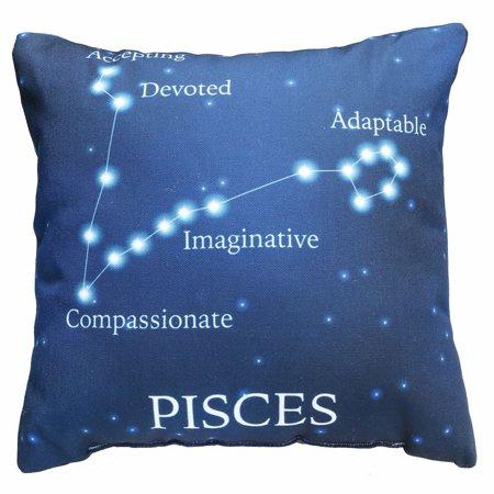 Horoscope Navy Blue Decorative Throw Pillow   Pisces