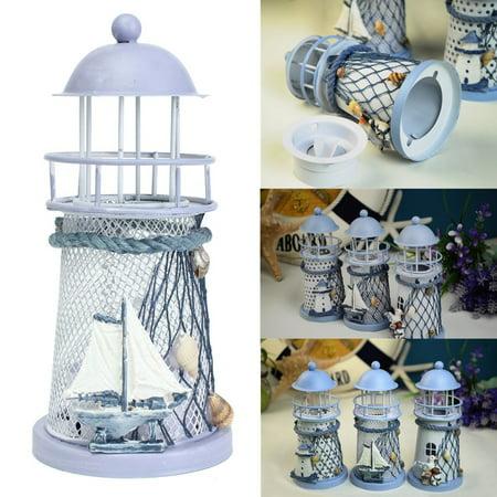 Mediterranean Iron House Lighthouse Tealight Holder Candle Holder Candleholder Candlestick Candelabrum Gift Decor 4pcs of 20% off
