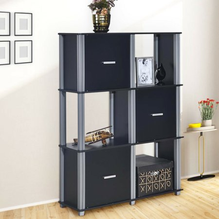 Costway 3 Tier Bookcase 6 Cubes Storage Cabinet Shelf Organizer Unit Display Black ()