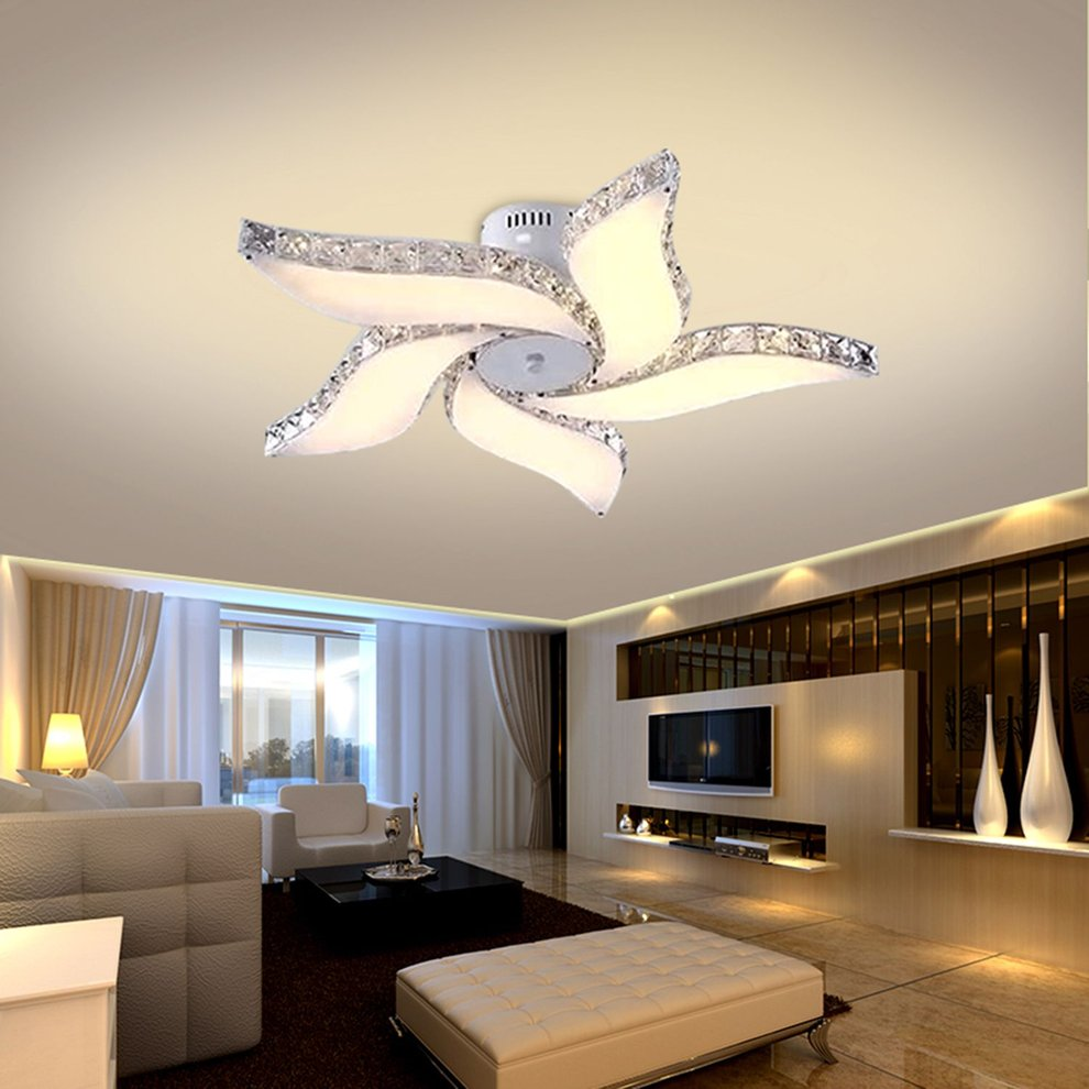 Modern Crystal Flower Chandelier Elegant Ceiling Light LED Pendant Lamp
