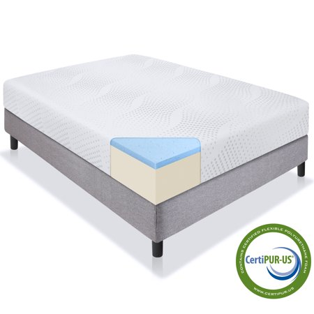 Best Choice Products 10in Queen Size Dual Layered Gel Memory Foam Mattress with CertiPUR-US Certified (Best Memory Foam Mattress For Heavy People)