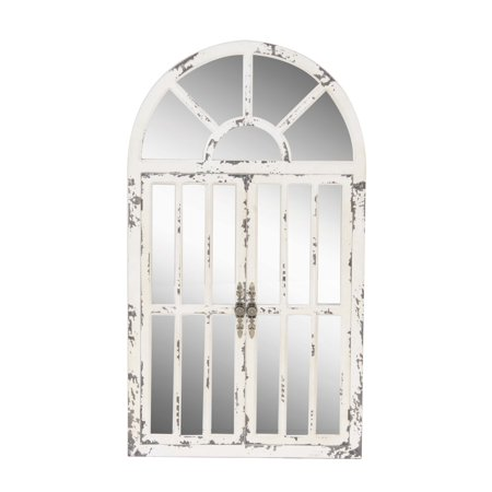 Decmode Traditional Distressed White Wooden Arched Window Wall Mirror, White ()