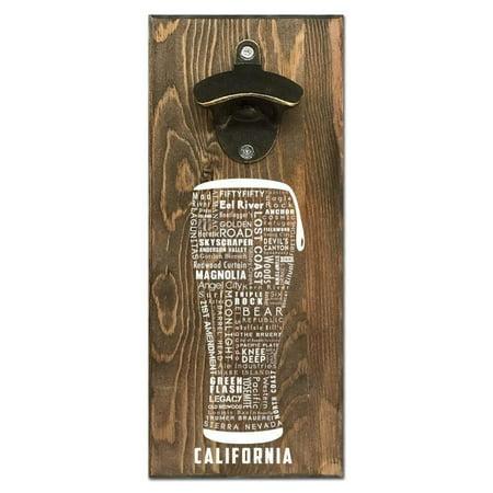 Beer Cap Traps California Typography Wall Mount Magnetic Bottle Opener Beer Soda Pop Cap Caps - Wall Beer Opener