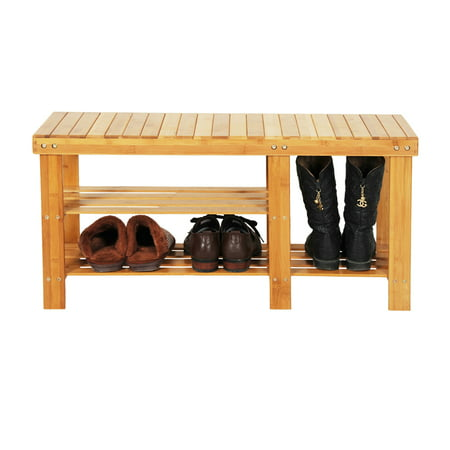 Clearance! 3-Tier Shoe Rack, Over the Door Shoe Organizer with Seat, Bamboo Table with Shoe Storage Holds Up to 551 Lbs, Storage Benches for Entryway Garage Hallway Living Room Bathroom, (Up And Over Garage Door Cable Replacement)