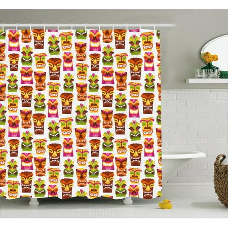 Tiki Bar Decor Shower Curtain 60 S Retro Inspired Cute Hawaiian Party Hy Statues Pattern