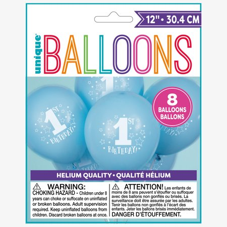Latex Stars Boy 1st Birthday Balloons, Light Blue, 12 in, 8ct