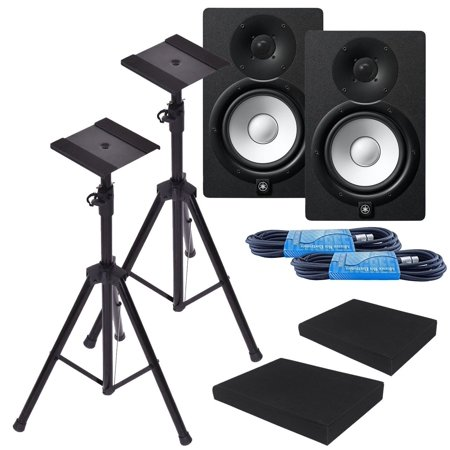 Yamaha HS7 7-Inch Powered Studio Monitor Speaker Black (Pair) with Height Adjustable Speaker Stands, Monitor Isolation Pads, and XLR Cables ()