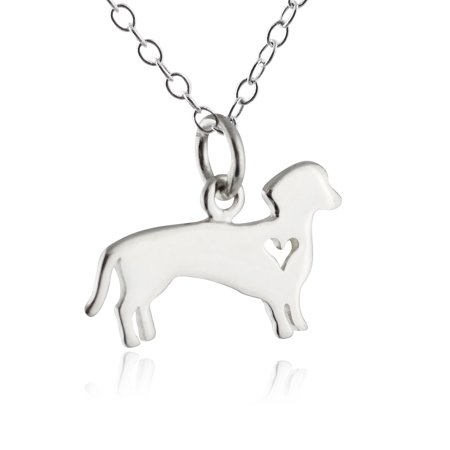 Sterling Silver Dachshund Wiener Dog with Cutout Heart Pendant Necklace, 18