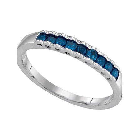 10kt White Gold Womens Princess Blue Color Enhanced Diamond Ribbed Band Ring 1/4 Cttw - image 1 de 1