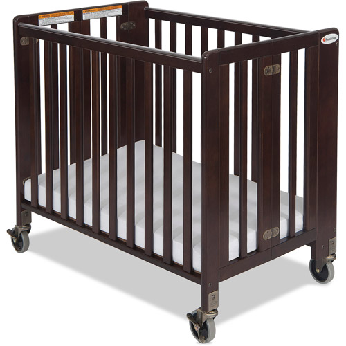 Foundations Hideaway Portable Crib Antique with Mattress Cherry
