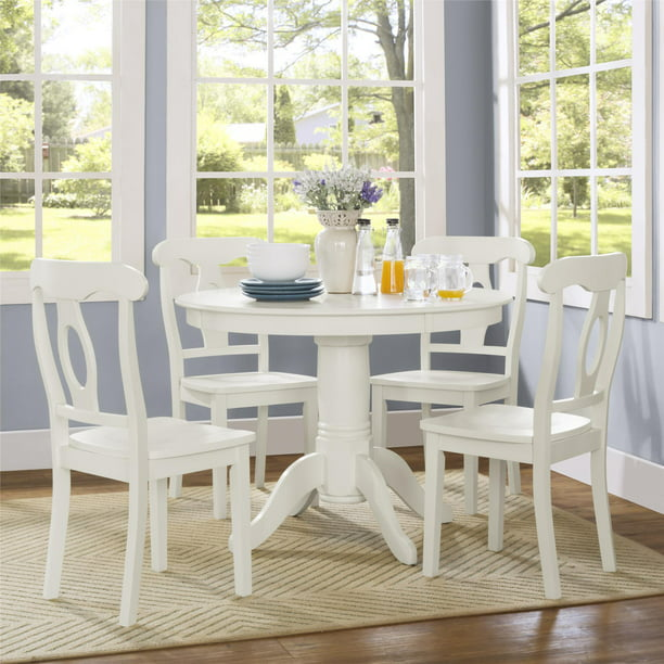Aubrey 5-Piece Traditional Height Pedestal Dining Set, Multiple Colors - White