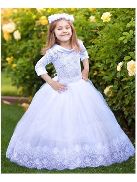 b691528ba49a Product Image Girls White Satin Collar Beaded Tulle Emma Flower Girl Ball  Dress