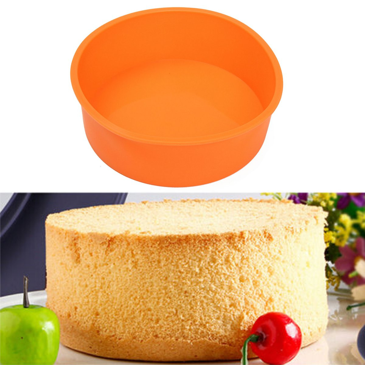 Meigar 7 Inches Round Silicone Cake Mold Pan, Muffin Pizza Pastry Baking Tray Mould Cake Pan Baking Mold, BPA Free, Non-Stick European-Grade Silicone