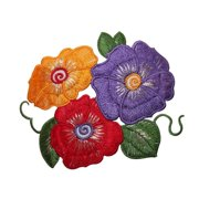 ID 6834 Multi Color Hibiscus Flower Patch Tropical Embroidered Iron On Applique