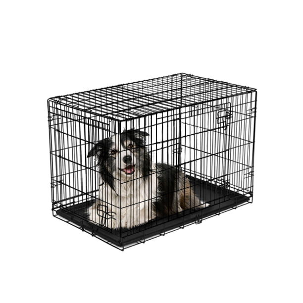 Double Door Folding Dog Crate