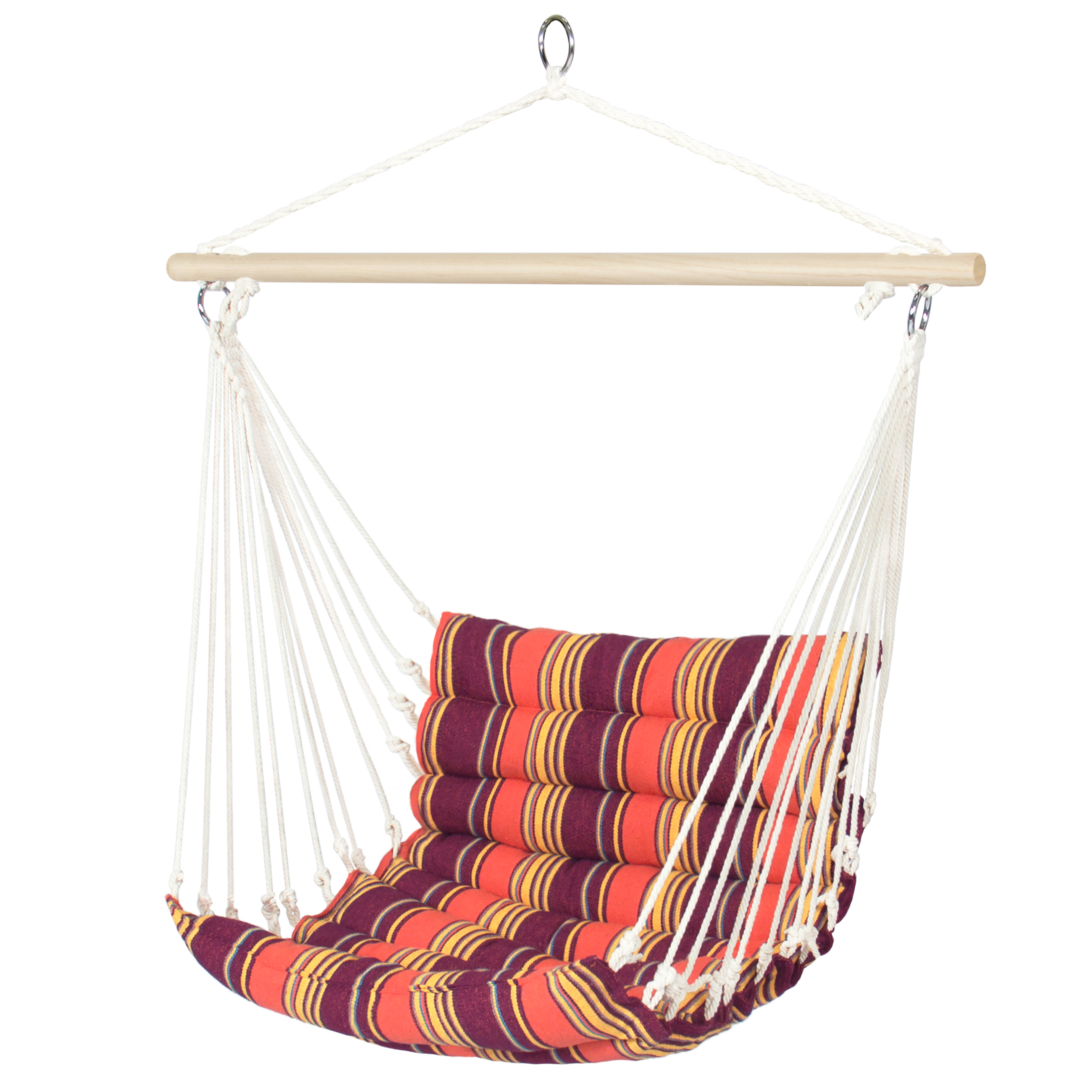 Best Choice Products Deluxe Padded Cotton Hammock Hanging Chair Indoor Outdoor Use- Blue