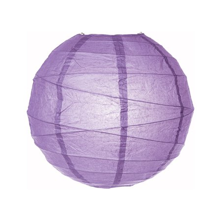 Paper Lantern (14-Inch, Free-Style Ribbed, Purple) - Rice Paper Chinese/Japanese Hanging Decoration - For Home Decor, Parties, and Weddings (Lilac Wedding Decorations)