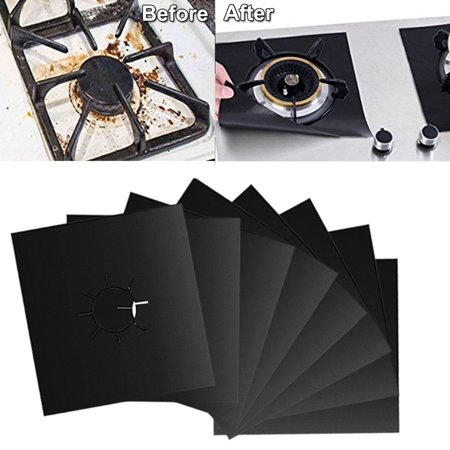 Gas Stove Burner Covers 8 Pack - CABINAHOME Double Thickness Gas Range Protectors with FDA Approved, Reusable, Non-Stick, Heat-resistant - Black (10.6