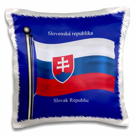 3dRose The flag of Slovakia on a blue background with Slovak Republic in English and Slovak - Pillow Case, 16 by 16-inch ()