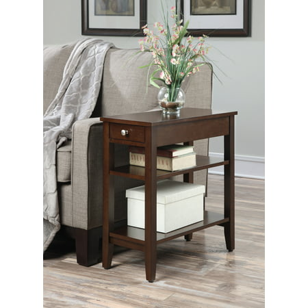 Convenience Concepts American Heritage Three Tier End Table with Drawer - End Table Covers