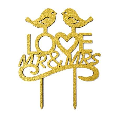 Mr. & Mrs. Love Birds Glitter Wedding Cake Topper, 7-1/2-Inch, Gold