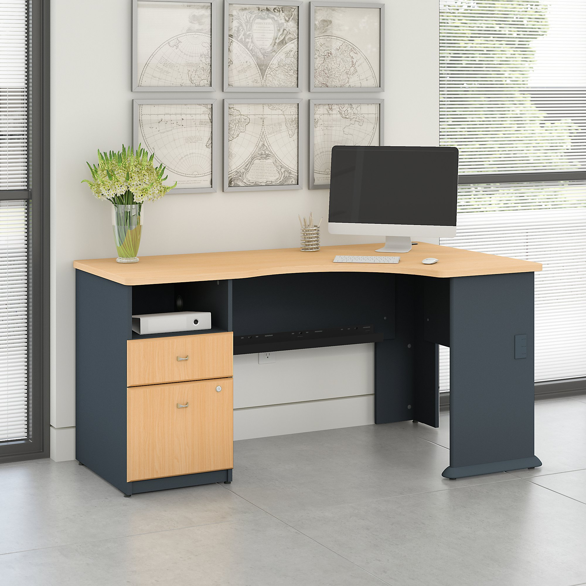Access 60W Corner Office Desk with 2 Drawer Pedestal in Beech