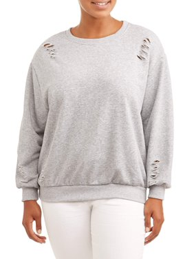 64f9ffd7305 Product Image Women s Plus Size French Terry Destructed Sweater