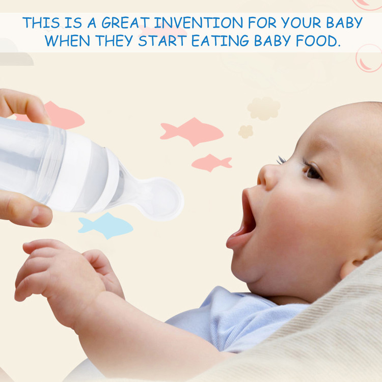 Baby Silicone Squeeze Feeding Bottle With Spoon Kids Food Rice Eat Feeder 90ML