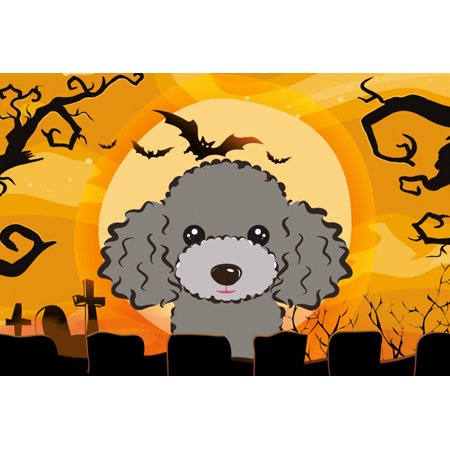 Halloween Silver Gray Poodle Fabric Placemat BB1817PLMT - Halloween 1817