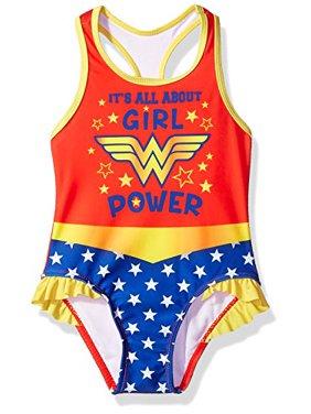 Warner Bros. Toddler Girls' Wonder Woman Swimsuit, Candy, 3T
