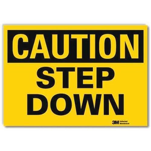 LYLE U4-1688-RD_10X7 Safety Sign,Step Down,Black/Yellow,10inW G1812566